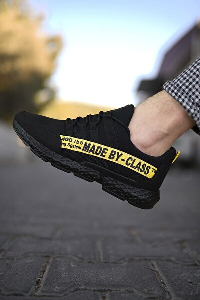 Erkek Siyah Sarı Cilt Sneaker 0012santo