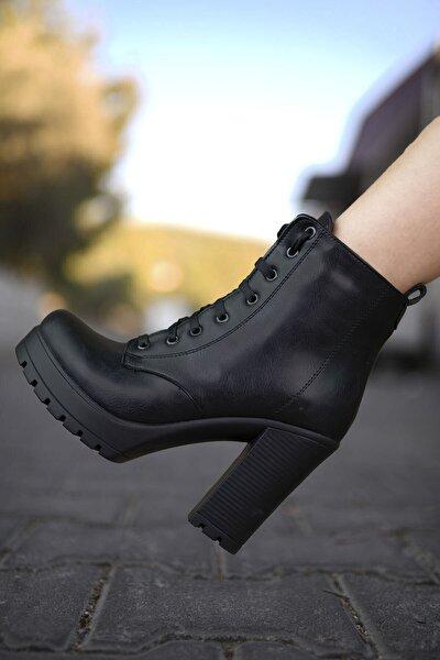 Kadın Siyah Yüksek Topuklu Bot 0012sp01