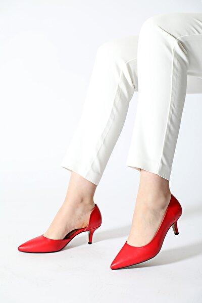 Kadın Kırmızı Yanı Kesik Aynalı Ökçe Sivri Klasik Topuklu Ayakkabı