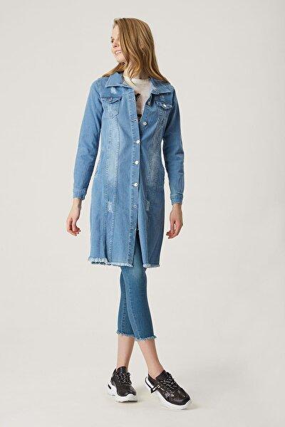 Kadın Lacivert Yıkamalı Modelli Slim Fit Kot Ceket