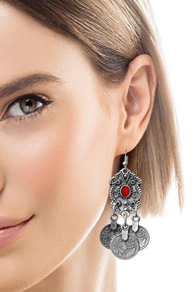 Kadın Antik Gümüş Kaplama Tuğra Detaylı  Sallantılı Küpe