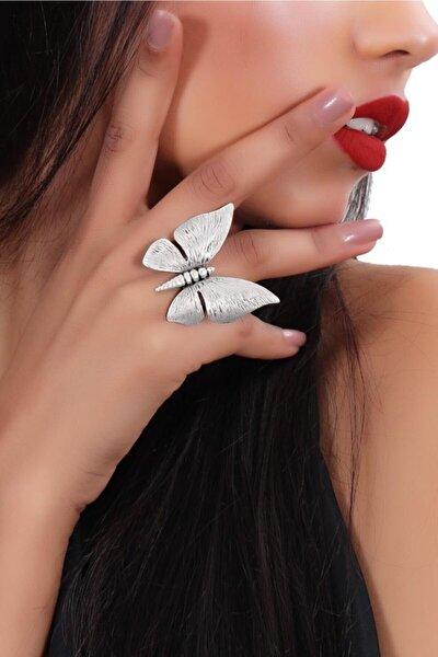 Kadın Antik Gümüş Kaplama Kelebek Figürlü Yüzük
