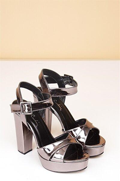 Pc-50165 Rugan Platin Kadın Ayakkabı