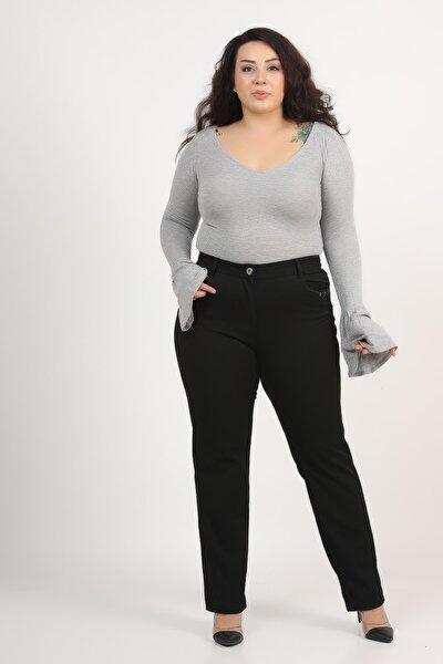 Kadın Siyah Büyük Beden Yumuşak Kumaş Pantolon