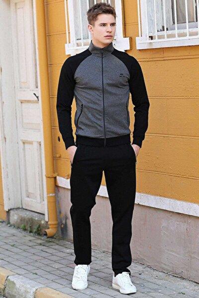 Yakalı Kol Garnili Antrasit-siyah Erkek Eşofman Takım 85113
