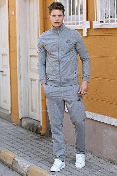 Erkek Yakalı Gri Melanj Eşofman Takım 85072