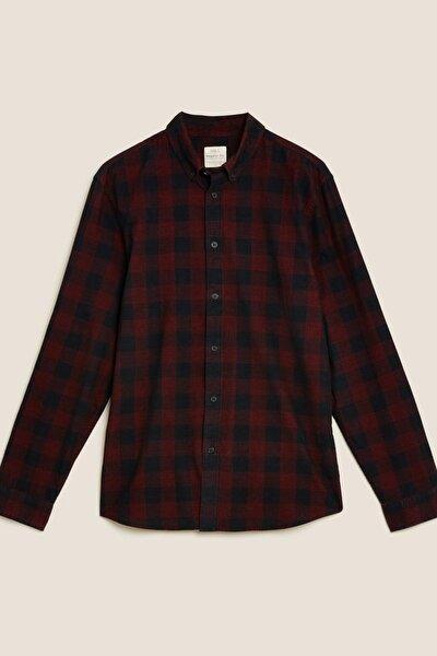 Erkek Kırmızı Saf Pamuklu Kadife Ekose Gömlek T25001078M