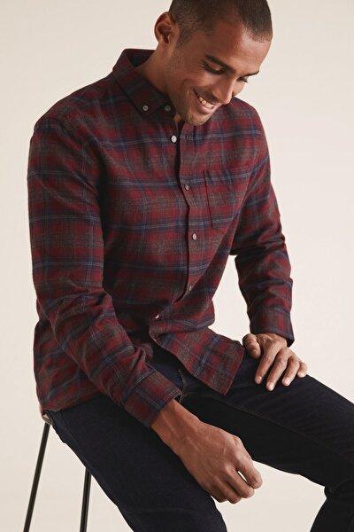 Erkek Kırmızı Ekose Flanel Gömlek T25001124M