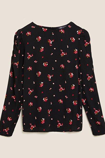 Kadın Siyah Çiçek Desenli Kolları Büzgülü Bluz T43002898