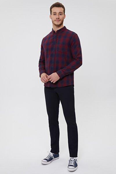 Erkek Lacivert Kareli Düğmeli Yaka Pamuklu Gömlek 211 Lcm 241019 2522