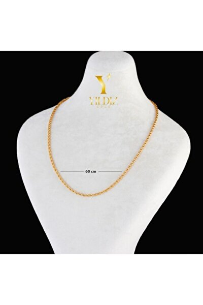 60 Cm Halat Altın Kaplama Zincir - 4 Mm