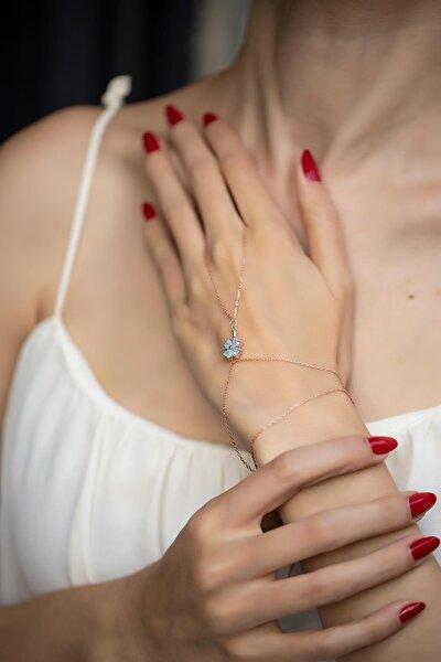 Kadın Yonca Model Mavi Kuvars Taşlı Rose Kaplama Gümüş Şahmeran İZLASLVR00560