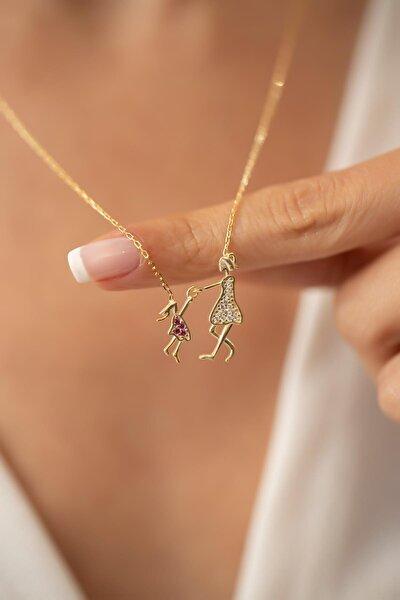 Kadın Anne ve Çocuk Model Altın Kaplama Gümüş Kolye