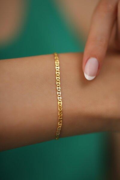 Kadın Ezme Barlı Model Altın Kaplama Gümüş İtalyan Bileklik