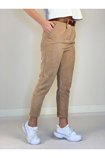 Kadın Kahverengi Yüksek Bel Kadife Kemerli Pantolon