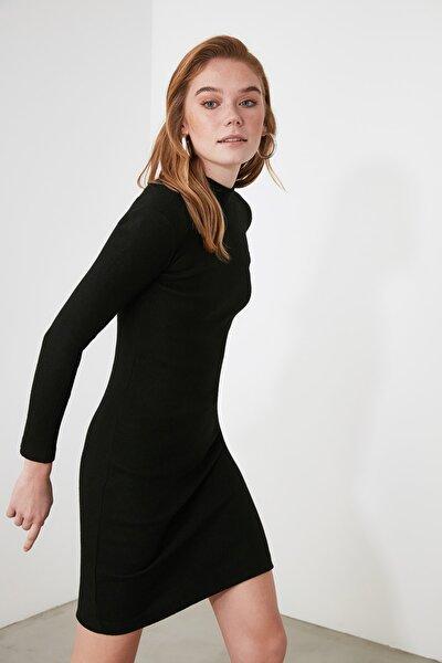 Siyah Yarım Boğazlı Örme Elbise TWOAW21EL2244