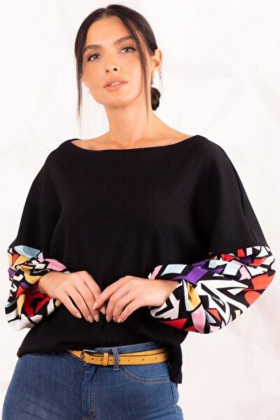 Kadın Siyah Kolu Desenli Büyük Beden Bluz ARM-21K001064