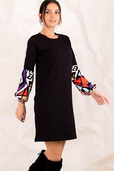 Kadın Siyah Geometrik Desen Büyük Beden Elbise ARM-21K001065