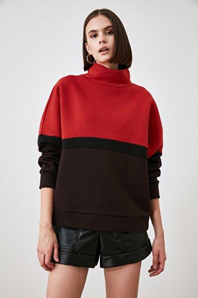 Kiremit Renk Bloklu Örme Sweatshirt TWOAW21SW1863
