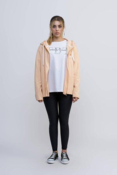 Kadın Somon  Kapüşonlu Fermuarlı Sweatshirt