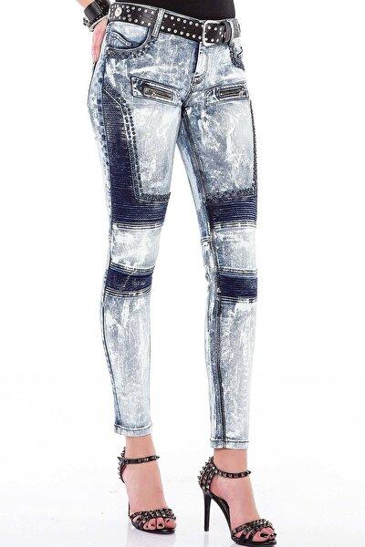 Kadın Mavi Rock ve Punk Tarzı İşlemeli Kot Pantolon