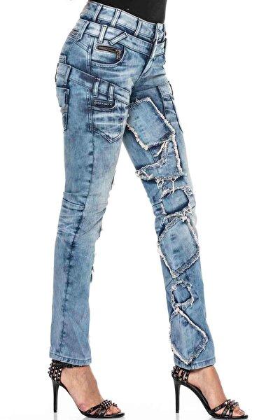 Kadın Mavi Sokak Tarzı Yırtık Yamalı Düşük Bel Jeans