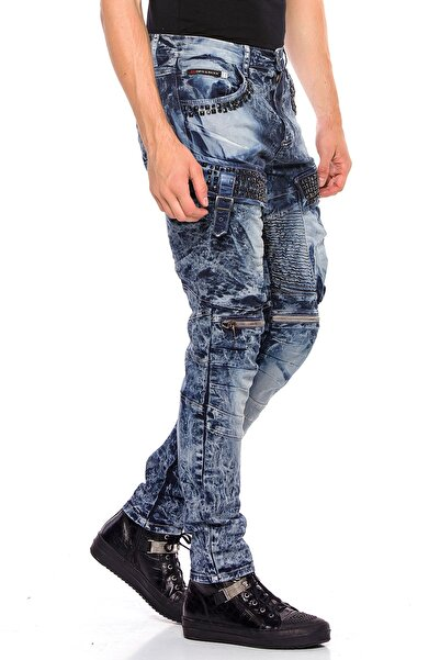 Erkek Mavi Kargo Cep Detaylı Kot Pantolon