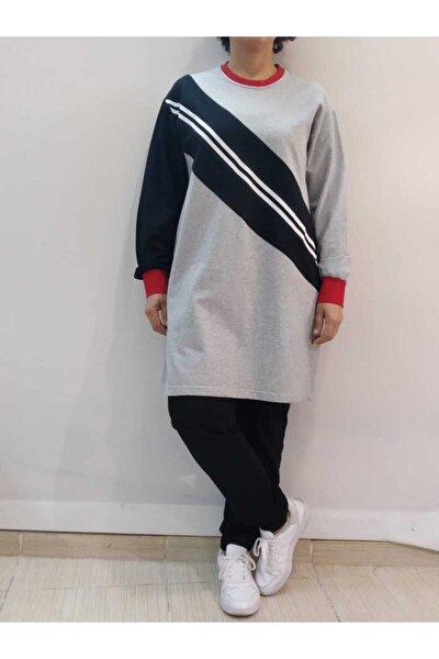 Kadın Gri  Şerit Detaylı Tunik