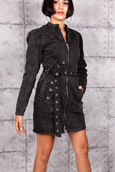 Kadın Siyah Denim Elbise
