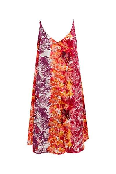 Kadın Turuncu Çiçekli Askılı Rahat Kesim Elbise 9109-0119