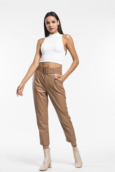 Kadın Taba Kemerli Suni Deri Pantolon