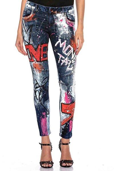 Kadın Mavi Elle Boyanmış Grafiti Desenli Kot Pantolon