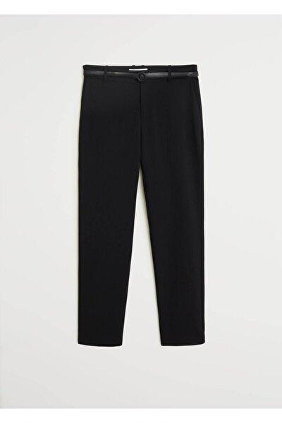 Kadın Siyah Kemerli Kumaş Pantolon 67080545