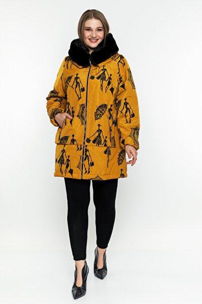 Kadın Şemsiye Desenli Mont