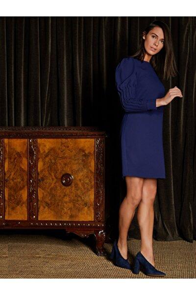 Kadın Lacivert Kolu Büzgülü Pamuk Krep Elbise