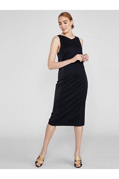 Kadın Siyah Sırt Dekolteli Pamuk Floş Elbise