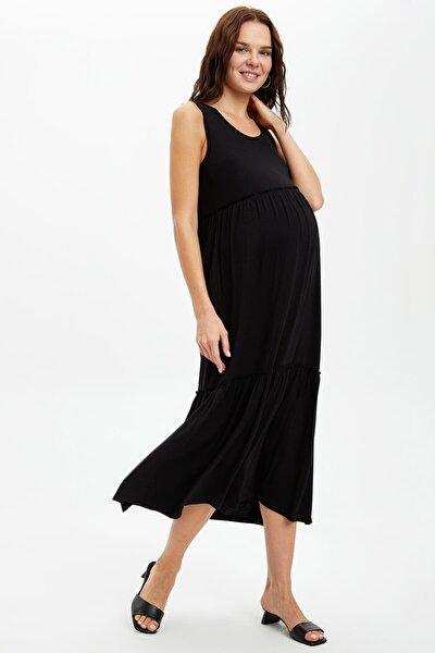 Belden Bağlama Detaylı Hamile Elbise