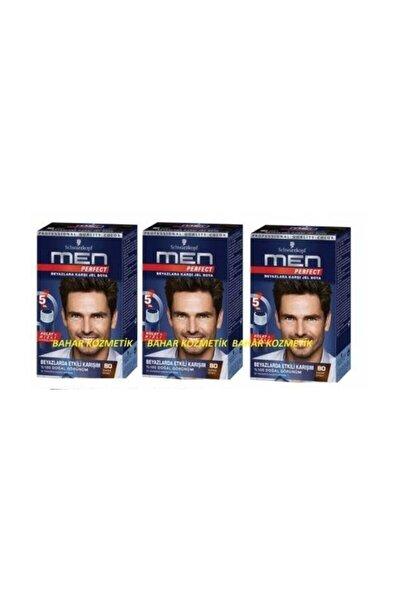 Erkek Saç Boyası 80 Kahve Siyah 3 Adet
