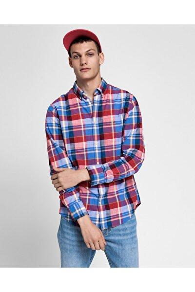 Erkek Kırmızı Kareli Regular Fit Madras Gömlek