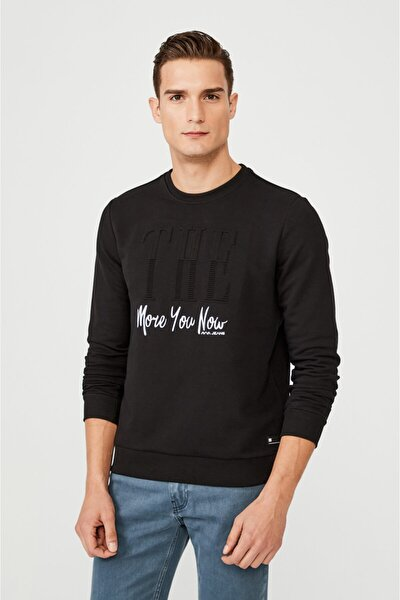 Erkek Siyah Bisiklet Yaka Gofre Baskılı Sweatshirt A02y1083