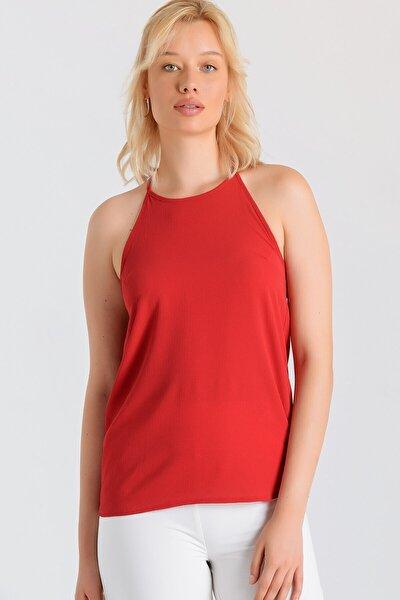 Kadın Kırmızı Sırtı Dantelli Sıfır Yaka Bluz
