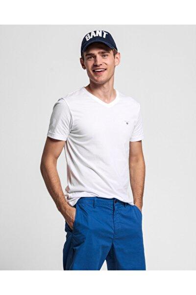 Erkek Beyaz Slim Fit V Yaka T-Shirt