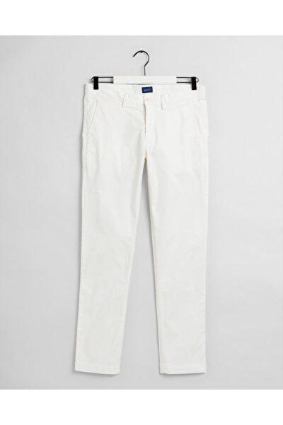 Erkek Krem Slim Fit Chino Pantolon