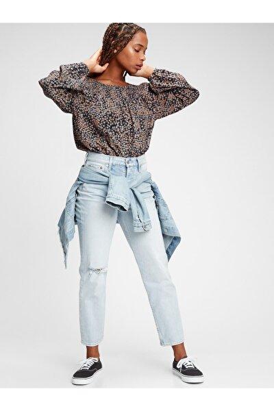 Kadın Siyah Çiçek Desenli Raglan Bluz