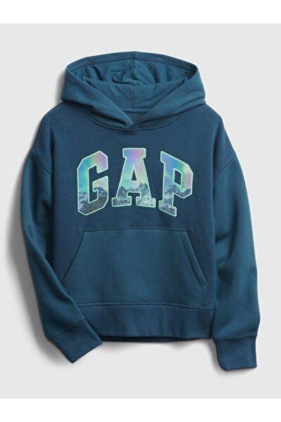 Erkek Çocuk Mavi Logo Kapüşonlu Sweatshirt