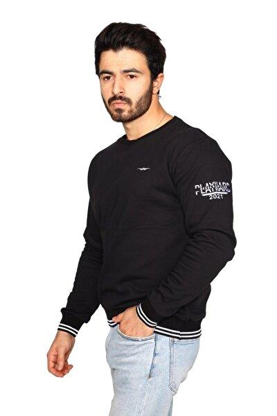 Siyah Sweatshirt 3 Iplik Şardonsuz Kumaş Ribanalı