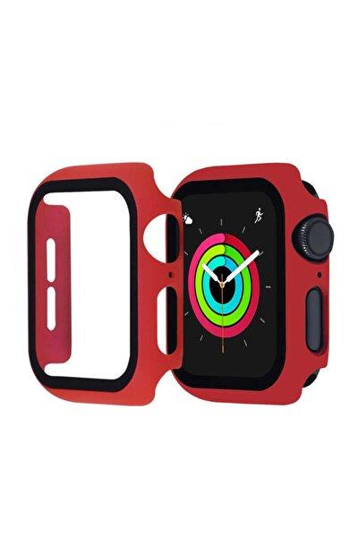 Kasa Ve Ekran Koruyucu Apple Watch Seri 6 44mm Akıllı Saat Için Kırmızı