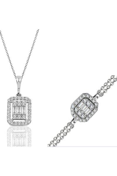 Pırlanta Montür Baget Model Kadın Gümüş Bileklik Ve Kolye