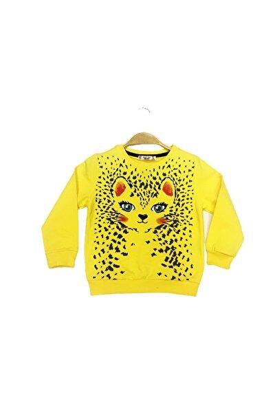 Kız Çocuk Sarı Kedi Detaylı Desenli Sweatshirt