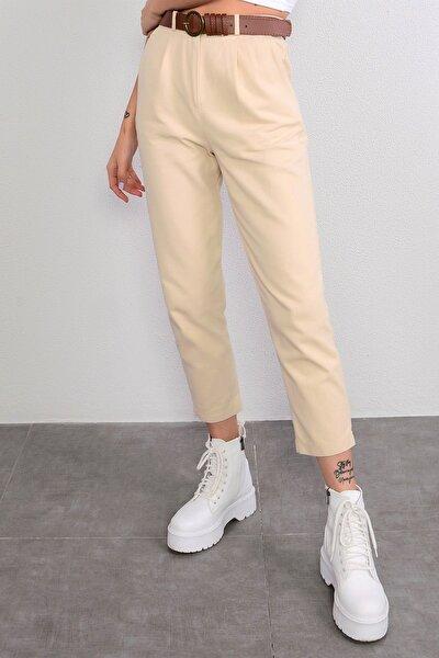 Kadın Taş Beli Lastikli Kemerli Pantolon